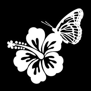 Hawaiian Hibiscus With Butterfly Custom Car Vinyl Decal Sticker 5 X 5