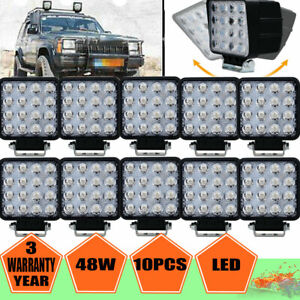 48w Cree Led Work Light Bar Spot Truck Tractor Suv 4wd Offroad Lamp Driving 10pc
