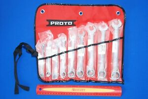 New Proto 9pc Full Polish Combination Reversible Ratcheting Wrench Set Jscvt 9s