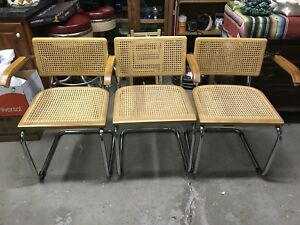 Vintage Set Of 3 Cesca Marcel Breuer Mid Century Modern Chairs Reproduction