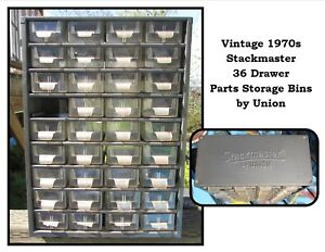 Vintage 1970s Metal Stackmaster 36 Drawer Parts Storage Cabinet By Union