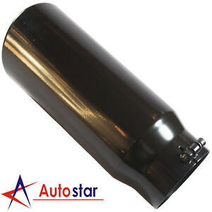 Black Exhaust Tip Tail Pipe 5 Inlet 6 Outlet 15 Long Rolled End Angle Cut