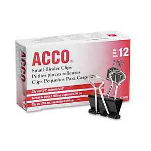Acco Black silver Small Binder Clips 20 Packs Of 12