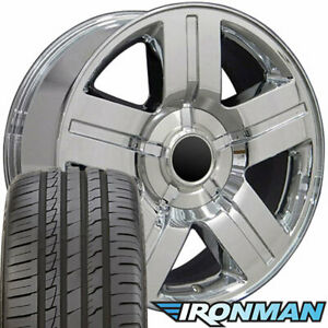 22 Rims Tires Fit Gm Chevy Texas Sierra Silverado Chrome Wheels Ironman 5291