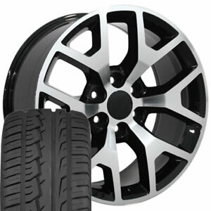 22 Rims Tires Fit Gm Chevy Sierra Silverado Black Mach D Wheels Ironman 5656