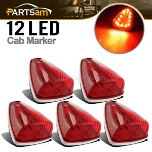 5pcs Waterproof Red Lens Red 12led Cab Roof Top Clearance Lights M20311r Utility