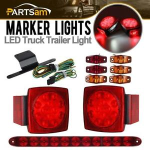 2xsq Led Stop Turn Tail Light 6xred amber Side Marker red Id Light Bar Under 80
