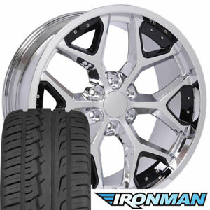 22 Rims Tires Fit Gm Chevy Sierra Silverado Dd Chrome W Black Ironman 5668