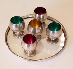 Gorham 6 Pc Enamel Goblets Cordials Sterling Silver 955 Etched Glass Tray 1320