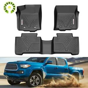 For 2016 2017 Toyota Tacoma Double Cab All Weather Floorliner Floor Mats Black