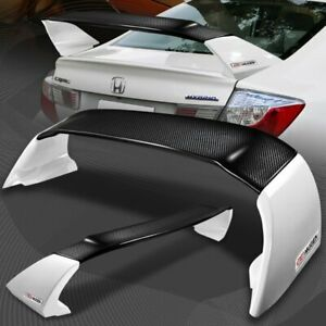 For 2012 2015 Honda Civic 4dr Mugen Carbon Fiber Factory White Rear Spoiler Wing
