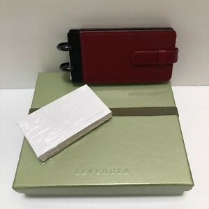 Levenger Circa Burgundy Red Leather Mini Pocket Address Book Wallet Cards New