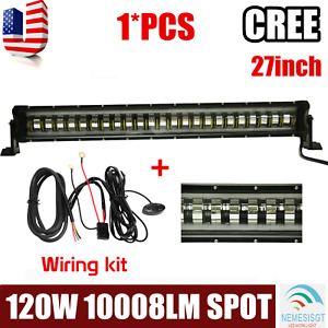 27inch 120w Cree Strobe Flashing Led Light Bar Offroad Driving Jeep wiring Kit
