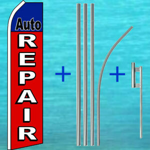Auto Repair Flutter Flag Pole Mount Kit Tall Curved Top Feather Swooper Banner