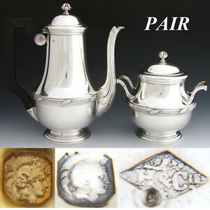 Elegant Antique French Sterling Silver 2pc Coffee Or Tea Pot Sugar Set Pair