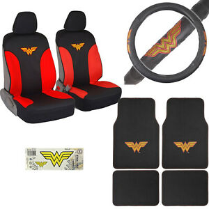 Wonder Woman Car Truck Front Seat Covers Floor Mats Steering Wheel Cover
