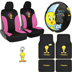 Tweety Bird Car Truck Front Seat Covers Floor Mats Steering Wheel Cover Keychain