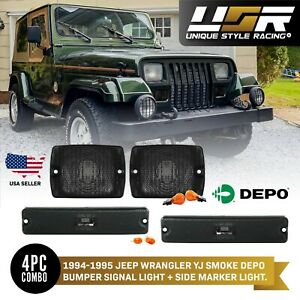 Combo Depo Smoke Bumper Signal side Marker Lights For 1994 1995 Jeep Wrangler Yj