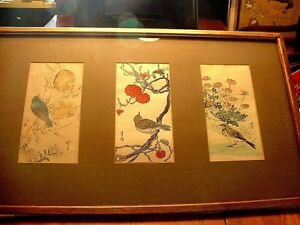 Large Vintage Japanese 3 Panel Triptych Bird Colored Wood Block Prints Signed 2