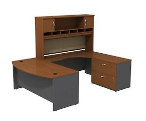 Bush Business Furniture Series C Bow Front U Shaped Desk With Hutch And Storage