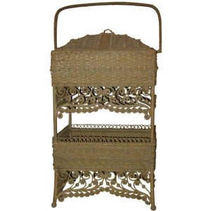 Antique Wicker Elaborate Sewing Basket
