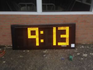 Trans lux Time And Temperature Outdoor Sign Amber Double Sided Master Slave