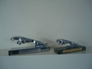 Lot Of 2 Jaguar Car Mascot Hood Ornament Chrome Base And Marble Base