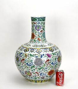 Large Chinese Seal Marked Doucai Floral Globular Porcelain Vase