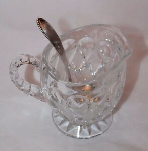 Crystal Glass Sugar Bowl Cup W Silver Plated Scoop Mini Ladle Caddy Spoon