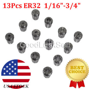 Precision Er32 Collet 13pc Set 1 16 3 4 For Milling Machine Usa Fast Ship