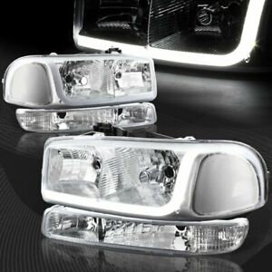 For 1999 2006 Gmc Sierra 1500 2500 Drl Led Chrome Clear Headlights bumper 4pcs