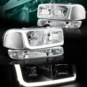 Chrome Drl Led Headlights bumper Clear Reflector Fit 99 06 Gmc Sierra 1500 2500
