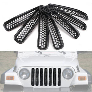 Exterior Front Mesh Grill Guard Grilles Insert For 1997 2006 Jeep Wrangler Tj b