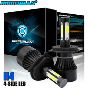 Ironwalls H4 Hb2 9003 1900w 285000lm 4 Sided Led Headlight Kit Hi Lo Bulb 6000k