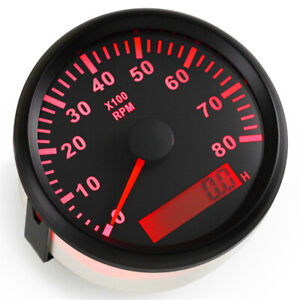 1pc Auto Tuning Tachometer 85mm 0 8000rpm Rev Counter With Hour Meter For Ship