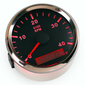 1pc 85mm Auto Tachometer Tuning 0 4000rpm Marine Rpm Tach 9 32v With Hour Meter