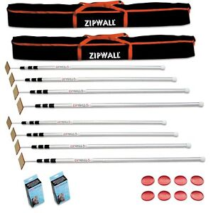 Zipwall 12 Slp4 12 Foot Spring loaded Poles For Dust Barriers 2 pack New