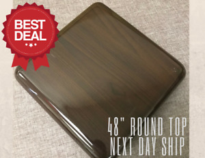 New 48 Round Resin Restaurant Table Top In Walnut eased Edge With Quick Ship