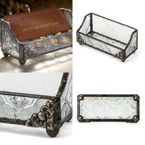 Handcrafted Stained Glass Business Card Holder Organizer Vintage Texture No Tax