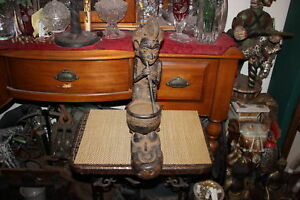 Antique African Tribal Iron Metal Carving Statue Woman Mortar Pestle Cooking Hvy
