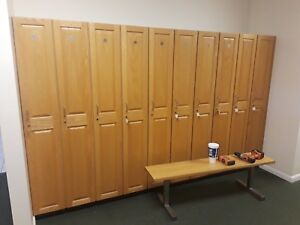 1 Tier 1 Wide Oak Locker gym school Cabinet Two Heights And Benchs Available
