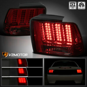 Fit 1999 2004 Ford Mustang Red smoke Sequential Led Tail Lights Brake Lamps Pair