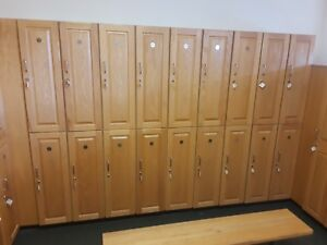 2 Tier 1 Wide Oak Locker Cabinet gym school More Sizes And Benchs Available