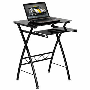 Tana Black Tempered Glass Computer Desk With Pull out Keyboard Tray