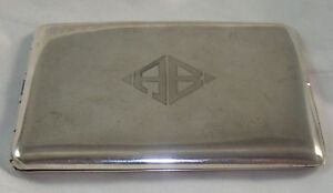 Antique Sterling Silver Cigarette Case Elgin American Usa Spring Loaded Art Deco