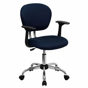 Rigmos Navy Mesh Adjustable Swivel Office Chair With Arms And Chrome Base