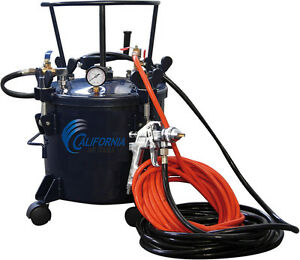 California Air Tool 365 5 Gallon Pressure Pot With Hvlp Spray Gun And Hoses