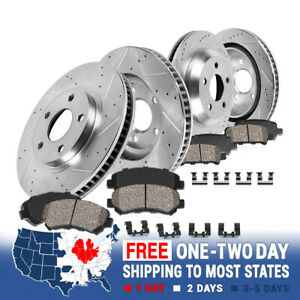 Front rear Drill Slot Brake Rotors Ceramic Pads For 2011 2014 Ford Mustang