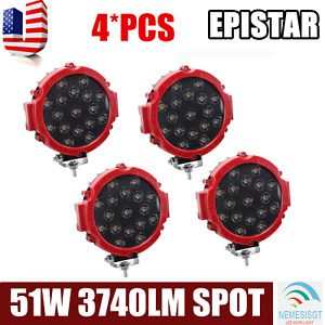 4x 7inch 51w Slim Led Driving Light Spot Offroad Round Truck 4x4wd Fog Lamp Red
