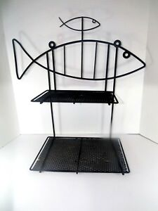 Vtg Wire Fish Wall Hanging Shelf Mid Century Modern Atomic Frederick Weinberg